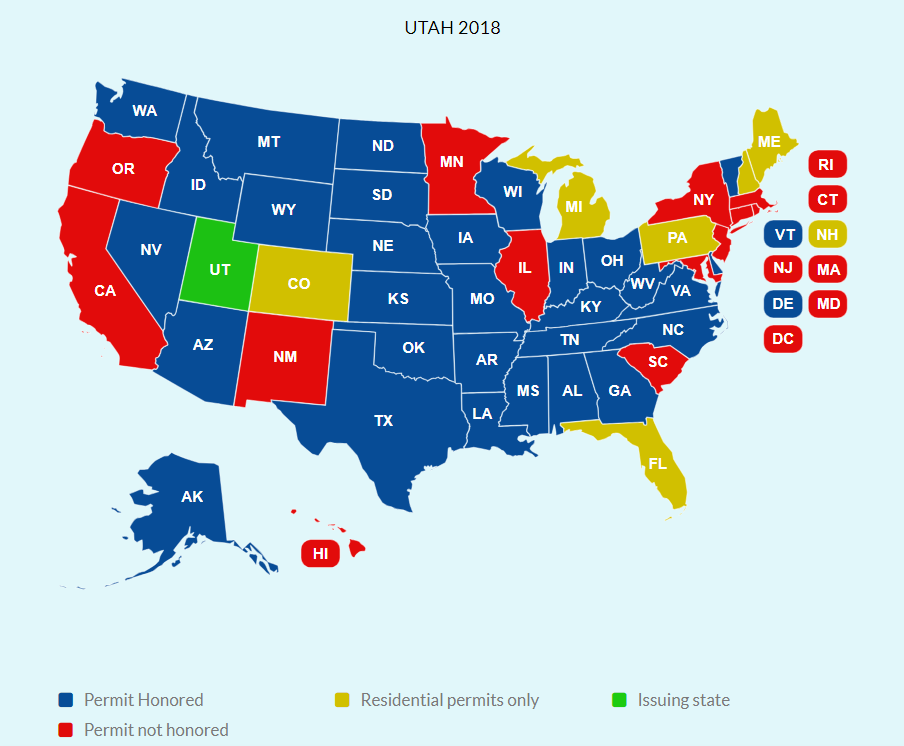 Utah conceal carry weapons permit reciprocity map